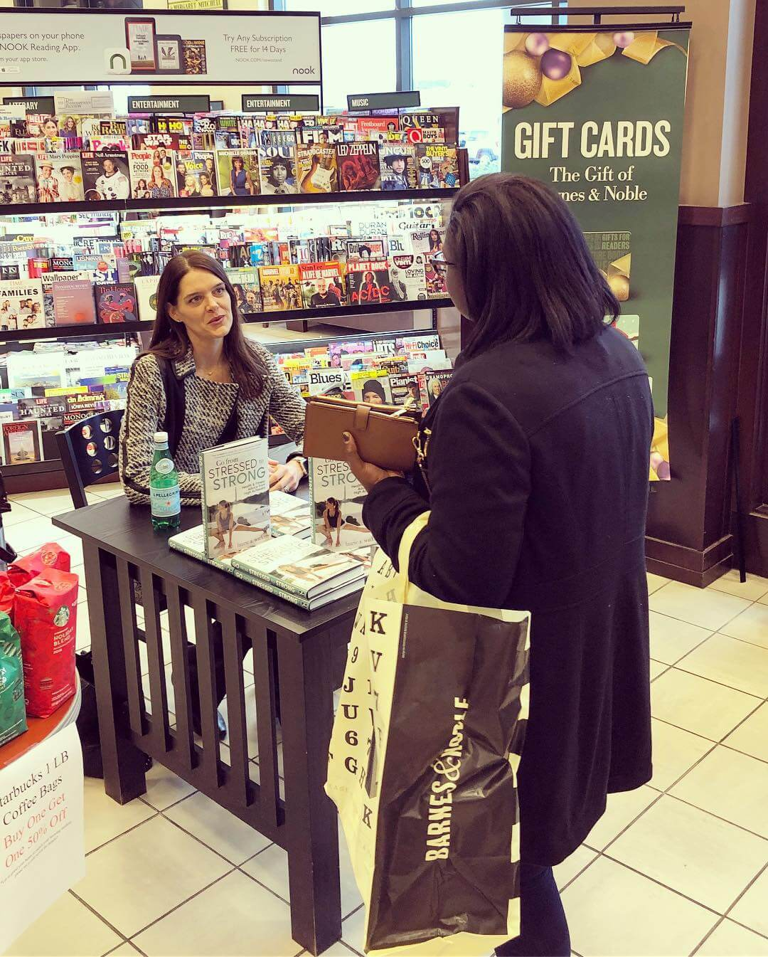 LAW with a fan and reader at Barnes & Noble, Harrisonburg, VA