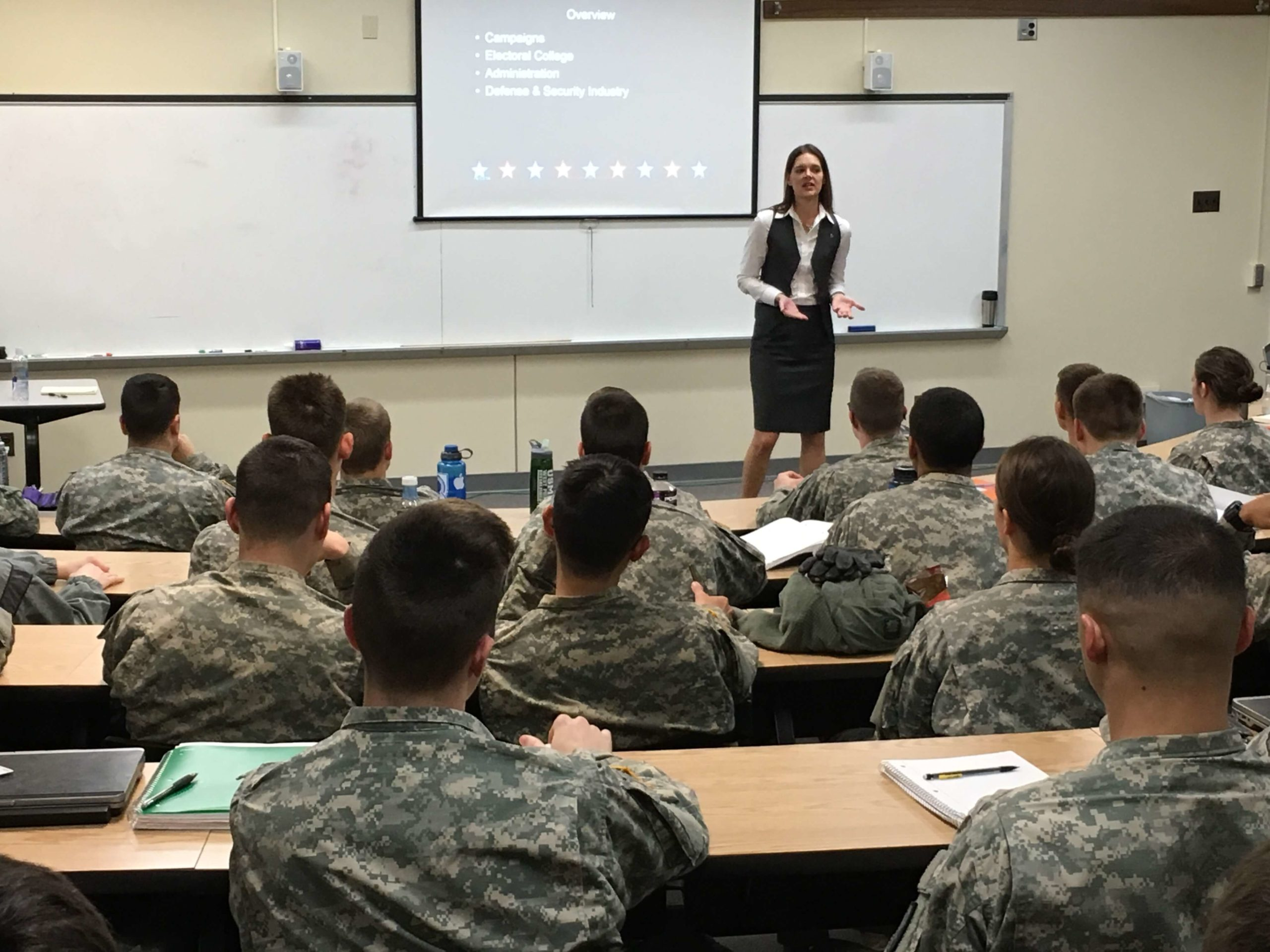 Laurie A. Watkins discussing the in's and out's of presidential campaigning to West Point cadets